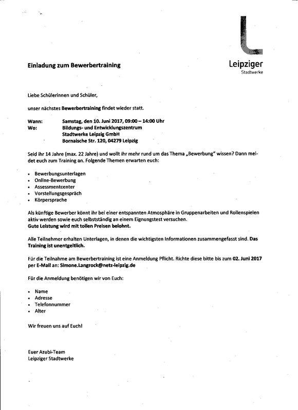 einladung zum bewerbertraining |, Einladung
