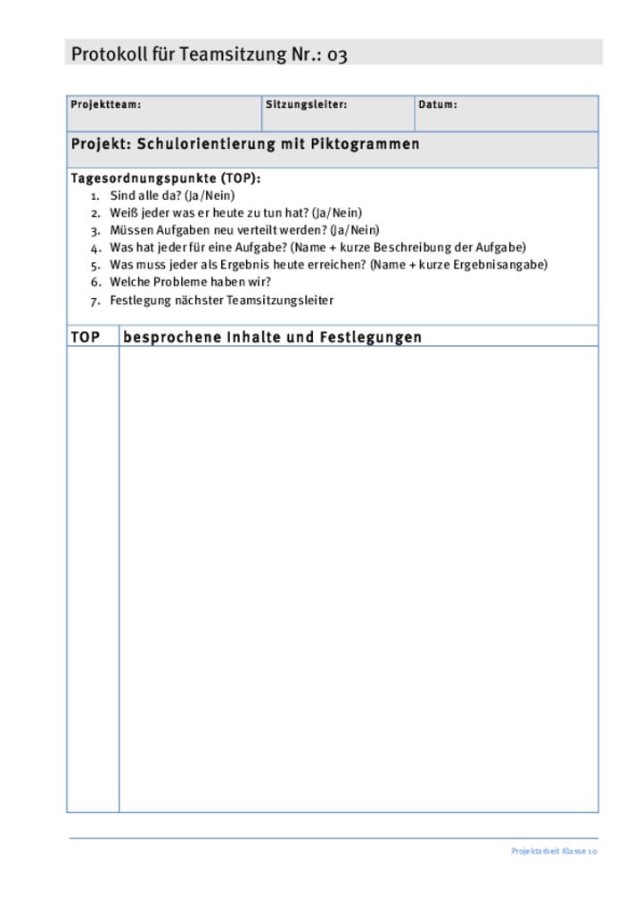 vorlage teamsitzung 03 - Gesprachsprotokoll Muster